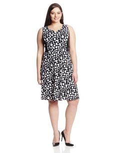 NY Collection Women's Plus-Size Sleeveless Fit 'N Flare Print Colorblock Dress, Night Alarm, 2X