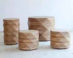The new DIAMOND WOODS Stools and Coffee Tables by Tesler-Mendelovitch for Talents Design TLV at DESIGNBOOM