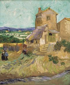 A large building under a clear sky with a landscape in the background and two people in the near distance van Gogh