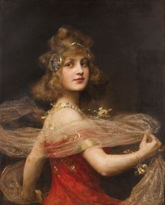 Salomé (1909). Paul Antoine de la Boulaye (French, 1849-1926). Oil on canvas. The Dance of the Seven Veils is one of the elaborations on the biblical tale of the execution of John the Baptist. The purpose of the dance has been desribed as being to inflame King Herod with incestuous desire so that he would grant Salomé her wish for the head of the Baptist.