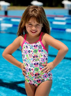 b727007bf80e0 Toddler girl's one-piece Swimsuit - Crazy critters