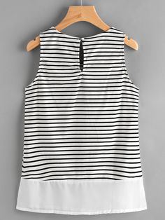 Shop Pinstripe Keyhole Back Tank Top online. SheIn offers Pinstripe Keyhole Back Tank Top & more to fit your fashionable needs. 30 Outfits, Summer Outfits, Fashion Outfits, Fashion Black, Fashion Fashion, Fashion Ideas, Vintage Fashion, Womens Fashion, Latest Street Fashion