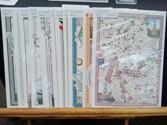 Sample map prints on display at the We Make London Market, Old Spitalfields, London E1 on 10th November 2012