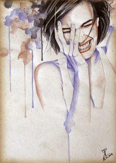 MoP_Smile_03, Media: Watercolor on paper, Size: A4 (21 x 30 cm) by Miro Zgabaj https://www.facebook.com/pages/Miroslav-Zgabaj-Drawing-Painting/114161501988357?ref=aymt_homepage_panel