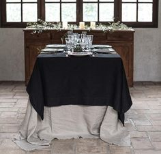 Both our Orkney and Smooth Linen are simple and elegant. You can layer our two linen tablecloths for extra finish! Linen Placemats, Linen Tablecloth, Table Linens, Tablecloths, Linen Duvet, Linen Pillows, Natural Charcoal, Mitered Corners, Rustic Elegance