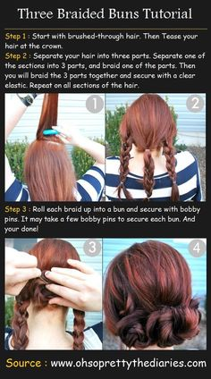 3 Braided Buns Hairstyle