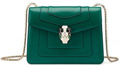 Love green. Bulgari Serpenti Bag. (It's National Handbag Day - of all things - in the United States...)