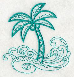 Doodle Palm Tree and Waves