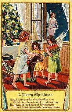 Christmas 1908 Angels Deliver Toys Children Collectible Antique Vintage Postcard