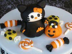 halloween fondant cake ideas   Halloween Hello Kitty with Fondant