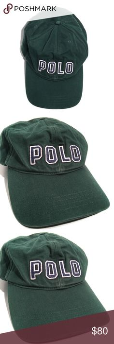 72e712b8b68 VTG Deadstock Polo Ralph Lauren Spellout Hat VTG Polo Ralph Lauren Green  Navy Letters Adjustable Snapback Polo by Ralph Lauren Accessories Hats