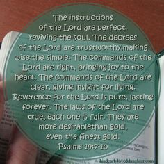 The instructions of the Lord are perfect, reviving the soul. The decrees of the Lord are trustworthy, making wise the simple. The commands of the Lord are right, bringing joy to the heart. The commands of the Lord are clear, giving insight for living. Reverence for the Lord is pure, lasting forever. The laws of the Lord are true; each one is fair. They are more desirable than gold, even the finest gold. Psalms 19:7-10 #HisDearlyLovedDaughter #HopeForToday #verseoftheday #BibleStudy…