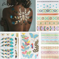 6 Sheets Feather Butterfly Design Temporary Metallic Tattoo Sticker Adult Back Clavicle Body Art Jewelry Bracelet Tattoo Sticker #Affiliate