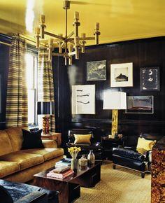 Black and Gold Living Room Design Ideas Black And White Living Room, Black Rooms, White Rooms, Art Deco Living Room, My Living Room, Living Room Designs, Black Painted Walls, Dark Walls, Masculine Living Rooms