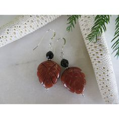 Marianne's Earrings, Carved Leaf Earrings, Red Earrings, Black onyx... ($18) ❤ liked on Polyvore featuring jewelry, earrings, round drop earrings, sterling silver earrings, sterling silver black onyx earrings, round earrings and red jewellery
