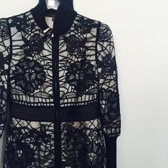 """Katerina Lace Coat Black and white full lace overlay coat with knit trim. size small measures 17"""" flat bust,35"""" length , sleeve is 24"""". Content is poly, fully lined. New with tags. Private label . no trades. West End Jackets & Coats"""