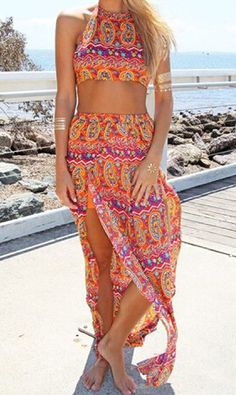 Ethnic Style Sleeveless Halter Backless Tube Top + Side Furcal Maxi Skirt Twinset