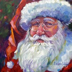 """Colorful Santa"" by artist Linda Smith.  Sorry, original is SOLD but prints are available at Fine Art America. Click on image."