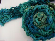 45 Minute Reclaimed Sari Ribbon Scarf Free Knit Pattern - Digital Download