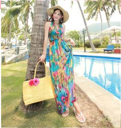 Online New Arrival 2017 Women Las Summer Dresses Y Vintage Halter V Neck Fl Printed Bohemian Beach Dress