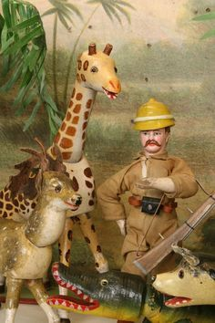 TOYS: Teddy Roosevelt Safari wooden painted toy figures by Schoenhut. Toys In The Attic, Toys Land, Tin Toys, African Safari, Wooden Dolls, Antique Toys, Vintage Dolls, Doll Toys, Kids Playing