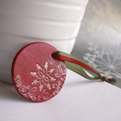 Large Red Snowflakes Polymer Clay