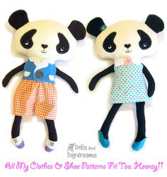 * Dolls And Daydreams - Doll And Softie PDF Sewing Patterns: Panda Teddy Bear Softie Stuffed Toy PDF Sewing Pattern Finished!