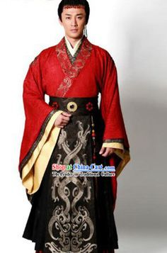 e23d8a268b Ancient Chinese Han Dynasty Emperor Clothing and Crown for Men Ancient  Chinese Traditional Dress Male