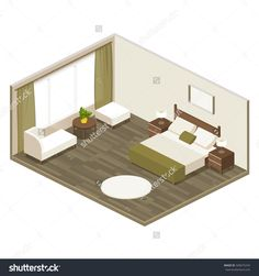 hotel room in isometric view with a large double bed, soft furniture, armchair, bedside tables, bedroom decor for adults in flat style, vector illustration with layers isolated on white background