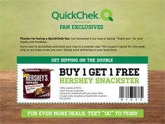 FACEBOOK COUPON $$ BOGO FREE Hershey Snackster from QuickChek!