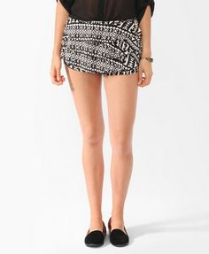 ruffled print shorts