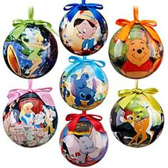 Disney Ornaments...I can make these by modge podge. I wanna make an all Disney tree one year or all disney garland.