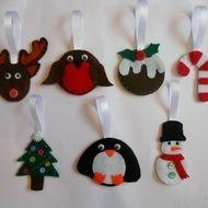 Cute Felt Christmas Tree Decorations - Christmas Decorations - Set of 7!
