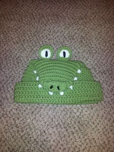 Mottley Creations alligator crochet beanie.