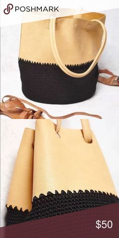 New Free People Mix Vegan Purse Mix Up Crochet Bucket Bag Style: 34936088  Vegan leather bucket bag with a contrast crochet bottom. Drawstring closure at top. *By Gracie Roberts  Vegan Leather Free People Bags Shoulder Bags
