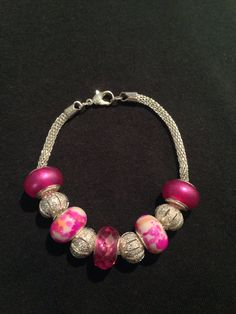 Pink Breast Cancer Awareness Snake Chain Charm Bracelet for Charity on Etsy, $25.00