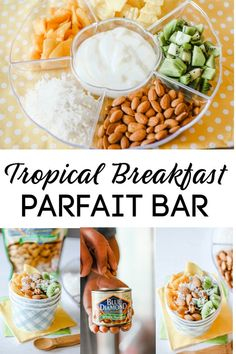 This Tropical Breakfast Parfait Bar is an easy way to get your morning started on the right foot thanks to Blue Diamond Whole Natural Almonds. Healthy Breakfast Recipes, Brunch Recipes, Healthy Cooking, Healthy Snacks, Healthy Recipes, Breakfast Parfait, Breakfast Buffet, Easy Family Meals, Easy Meals