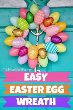A quick & easy Easter Egg Wreath that anyone can make! Add a festive touch to your front doors in minutes with two different versions of this Easter craft. Plastic Easter Eggs, Easter Egg Crafts, Easter Projects, Easter Decor, Easter Ideas, Easter Centerpiece, Diy Projects, Bunny Crafts, Easter Activities
