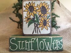 Primitive Country Sunflowers Small Crow Stacking Shelf Sitter Wood Block Set #PrimtiiveCountry
