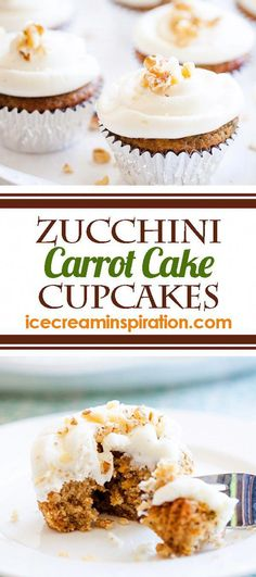 These Zucchini Carrot Cake Cupcakes mix two classics--Zucchini Bread and Carrot Cake--to make the best cupcake recipe ever! Best Cupcake Recipe Ever, Cupcake Recipes, Dessert Recipes, Cupcake Ideas, Zucchini Carrot Cakes, Zucchini Bread, Zucchini Muffins, Carrot Cake Cupcakes, Cupcake Cakes