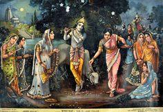 'Krishna Puja' -  German Lithograph, c. 1930. Source: The Sampradaya Sun - Independent Vaisnava News - Feature Stories - January 2013