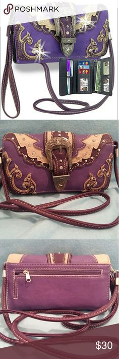 """Purple rhinestone accent western organizer wallet Purple rhinestone accent western organizer wallet.  A rhinestone accented western style layered wallet.  Interior features include 3 clear ID windows,  slots for 9 credit cards,  flat currency compartments,  and an expanding accordion area with interior zippered pocket. zippered back pocket.  Exterior back pocket. Silver tone hardware.    Both wristlet and shoulder strap detachable.  8""""L x 4""""H x 1.25""""W. BRAND NEW Bags Wallets"""