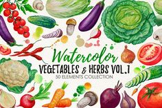 Watercolor Vegetables, Herbs by iGRAPHOBIA on @creativemarket