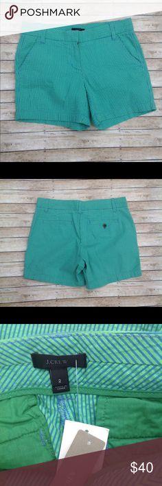 J.Crew Seersucker Shorts Blue and green new with tags seersucker shorts with a 4 inch inseam. J. Crew Shorts