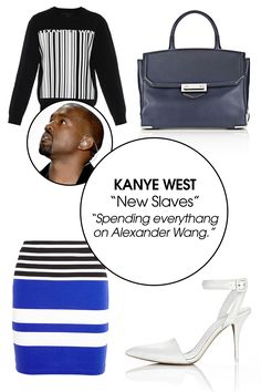 We all know just how good Kanye West's Valentine has it. *Ahem, Kim. Ahem.* You get all the Alexander Wang. All of it. Including T by Alexander Wang and his new denim line and of course his shoes and bags. Also, let's not forget his selection of fancy home goods! Everythang.  Alexander Wang Barcode-Logo Sweater, $650; matchesfashion.com    T by Alexander Wang Striped Stretch-Cotton Jersey Mini Skirt, $125; net-a-porter.com    Alexander Wang Large Prisma Skeletal Marion, $950…