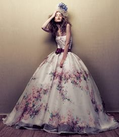 Floral wedding dress. Unique and Elegant.