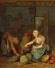 Unknown (Flemish)  Kitchen Scene with Maids, detail  18th century