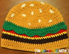 The Cheeseburger Hat (Crochet Pattern) this is so cute  looks like a hamburger