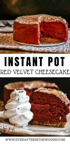 The Instant Pot has taken over kitchens across the country. Did you know that you could make dessert in the Instant Pot as well? This Red Velvet Instant Pot Cheesecake Recipe is delicious and perfect for Valentine's Day. Instant Pot Cheesecake Recipe, Easy Cheesecake Recipes, Dessert Recipes, Baking Desserts, Yummy Recipes, Baking Recipes, Red Velvet Cheesecake, Chocolate Cheesecake, Cheesecake Cookies