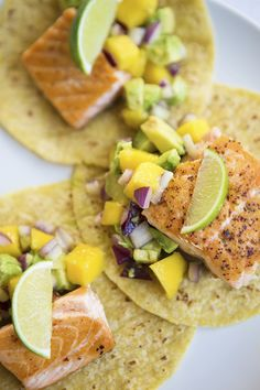 Grilled Salmon Tacos With Mango Avocado Salsa.